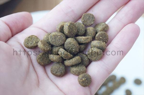 ワイルドレシピ(ラム成犬用)の粒の大きさ